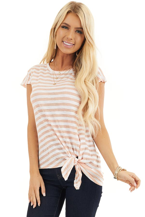 Faded Peach and Off White Striped Knit Top with Side Tie front close up