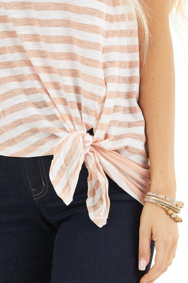 Faded Peach and Off White Striped Knit Top with Side Tie detail