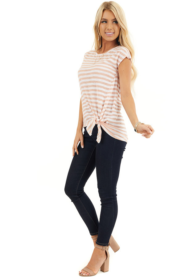 Faded Peach and Off White Striped Knit Top with Side Tie side full body