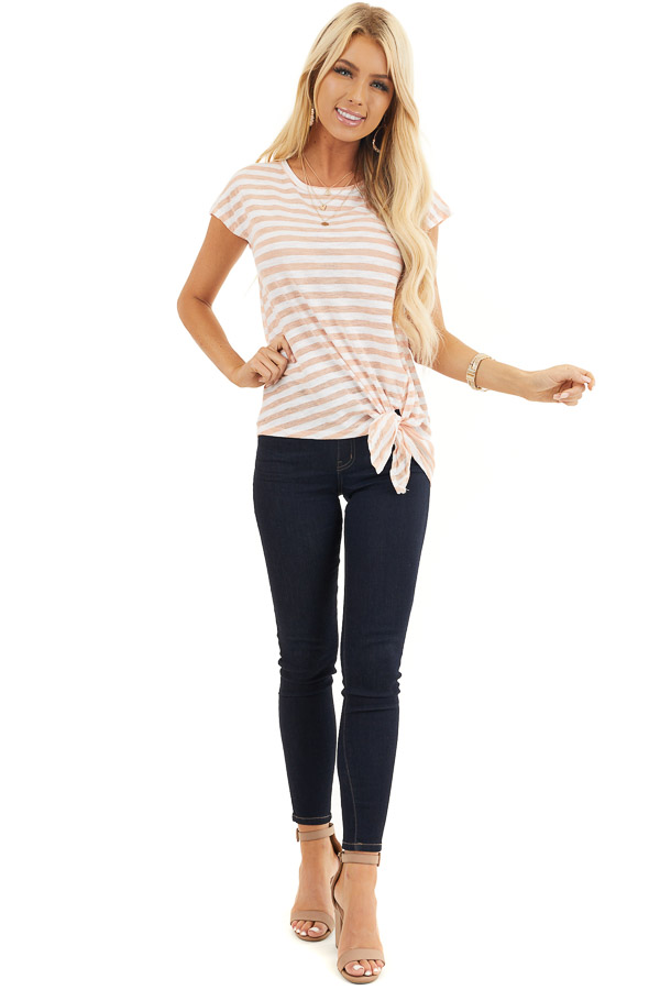 Faded Peach and Off White Striped Knit Top with Side Tie front full body