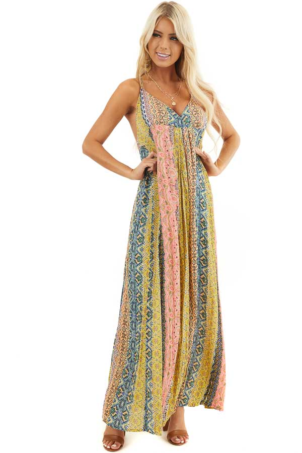 Mustard Multicolor Printed Maxi Dress with Metallic Detail front full body