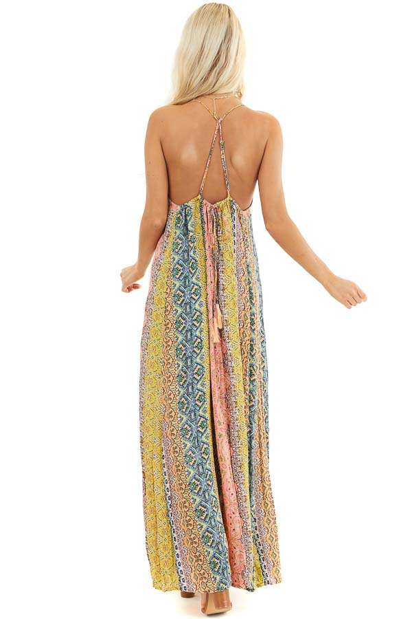 Mustard Multicolor Printed Maxi Dress with Metallic Detail back full body