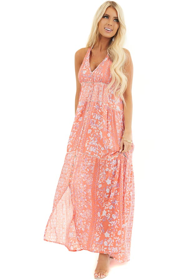 Coral Floral Sleeveless Tiered Maxi Dress with Racerback front full body
