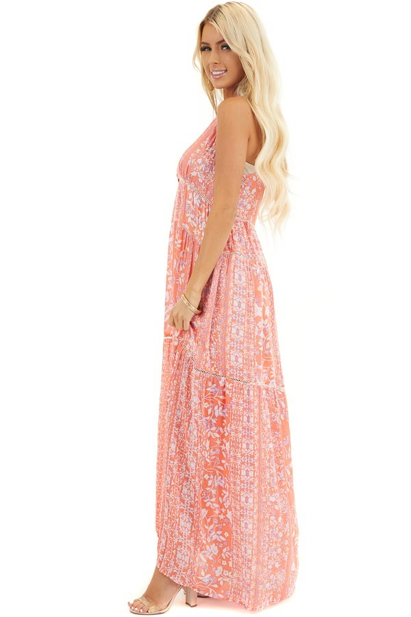 Coral Floral Sleeveless Tiered Maxi Dress with Racerback side full body