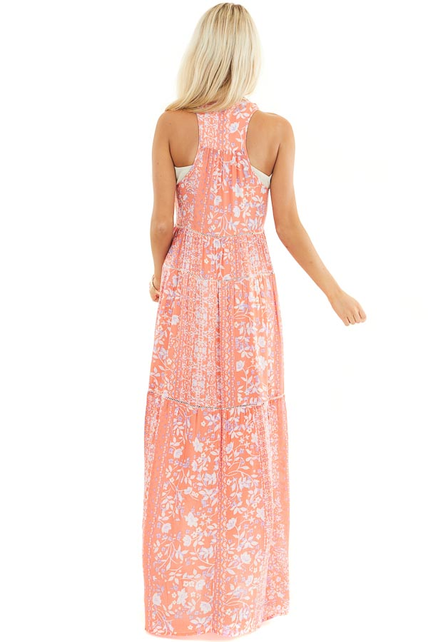 Coral Floral Sleeveless Tiered Maxi Dress with Racerback back full body