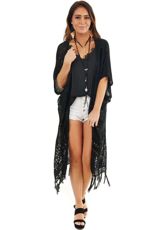 Black Knit Cardigan with Crochet Lace Details and Fringe front full body