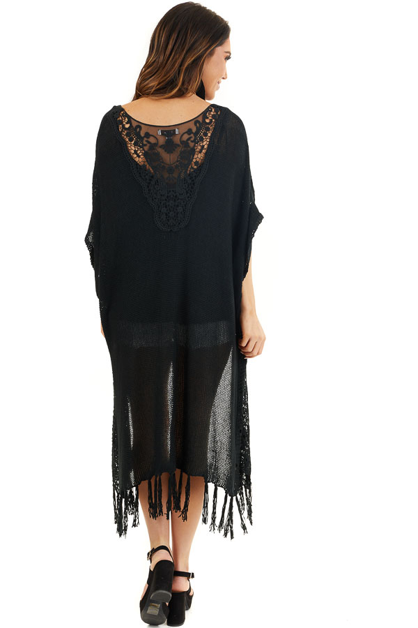 Black Knit Cardigan with Crochet Lace Details and Fringe back full body