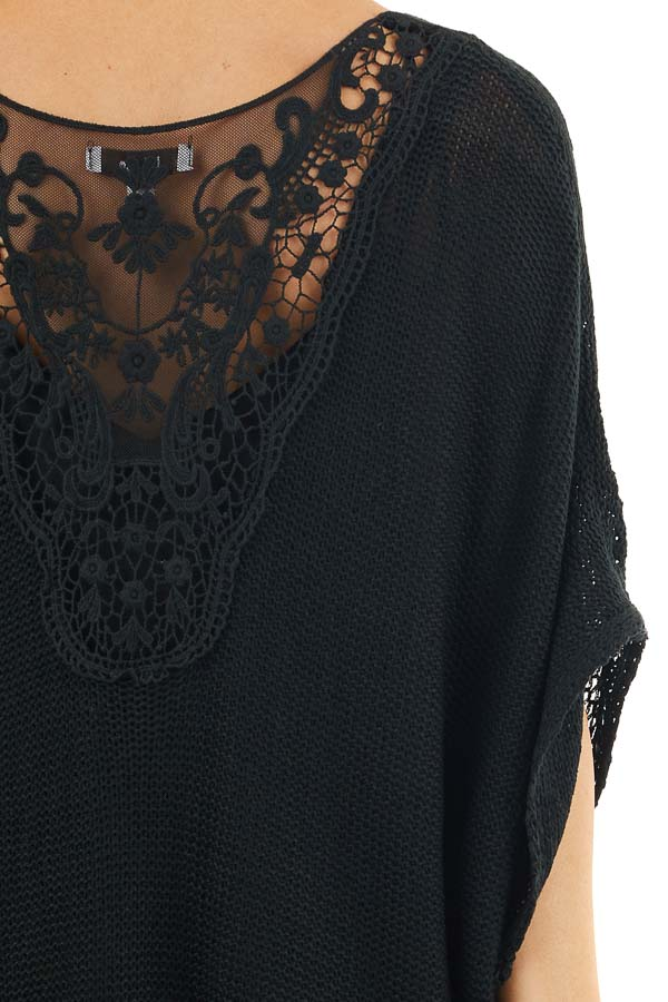Black Knit Cardigan with Crochet Lace Details and Fringe detail