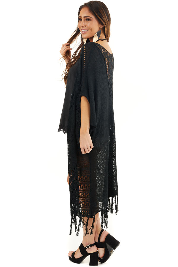 Black Knit Cardigan with Crochet Lace Details and Fringe side full body