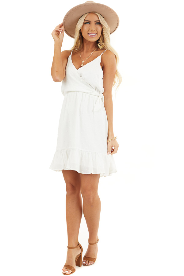 Off White Swiss Dot Surplice Dress with Spaghetti Straps front full body