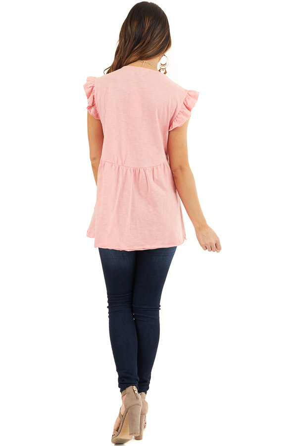 Coral Short Sleeve Top with V Neck and Crochet Lace Details back full body