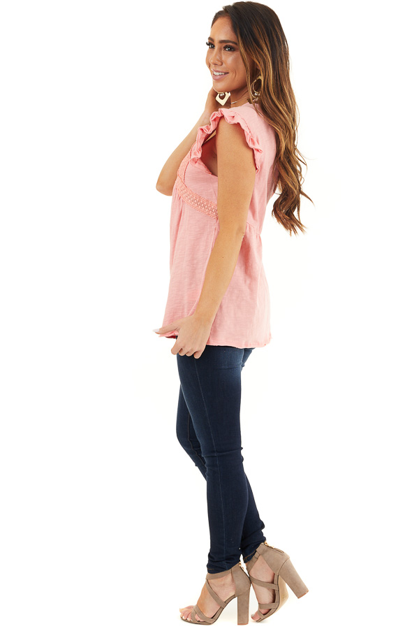 Coral Short Sleeve Top with V Neck and Crochet Lace Details side full body