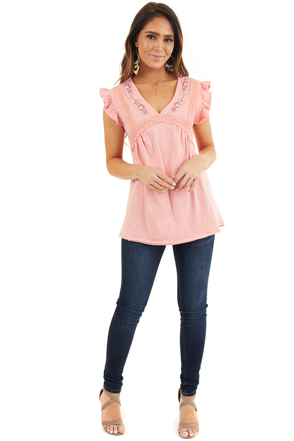 Coral Short Sleeve Top with V Neck and Crochet Lace Details front full body