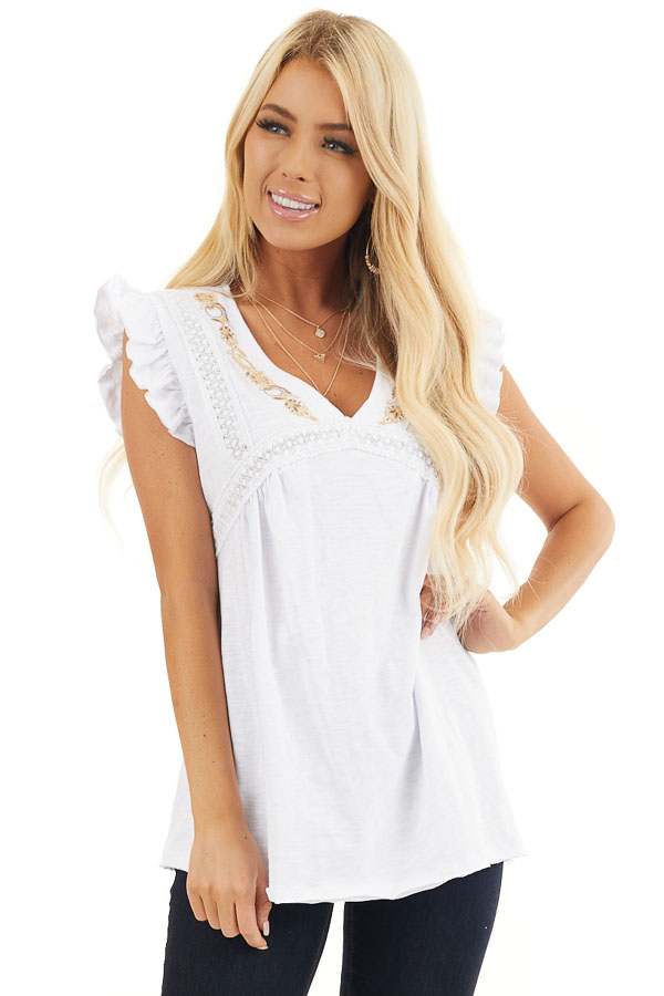 White Short Sleeve Top with V Neck and Crochet Lace Details front close up