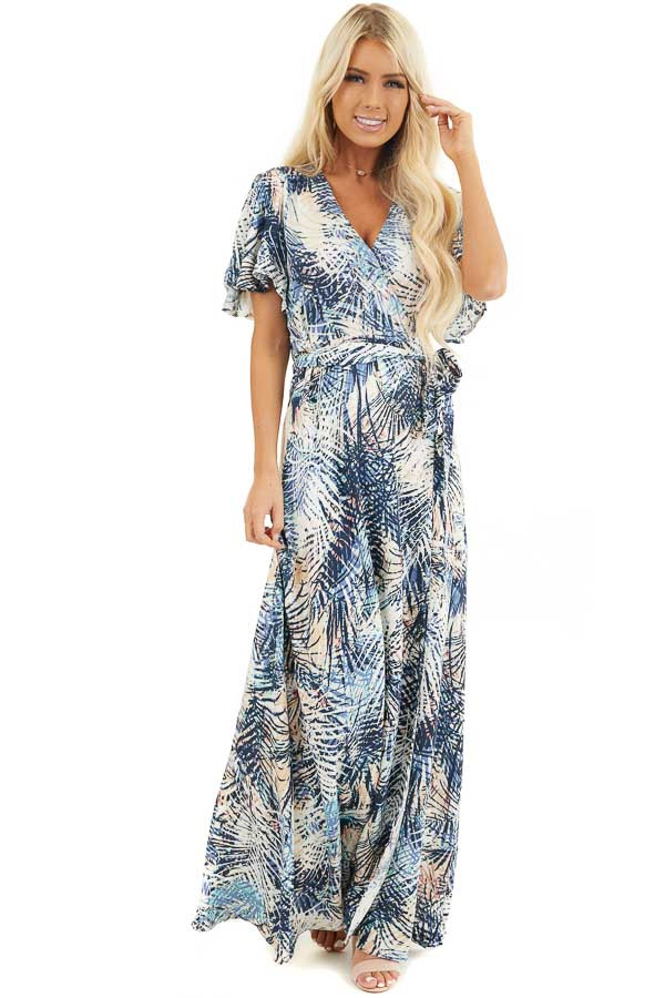 Navy Tropical Print Wrap Maxi Dress with Short Sleeves front full body
