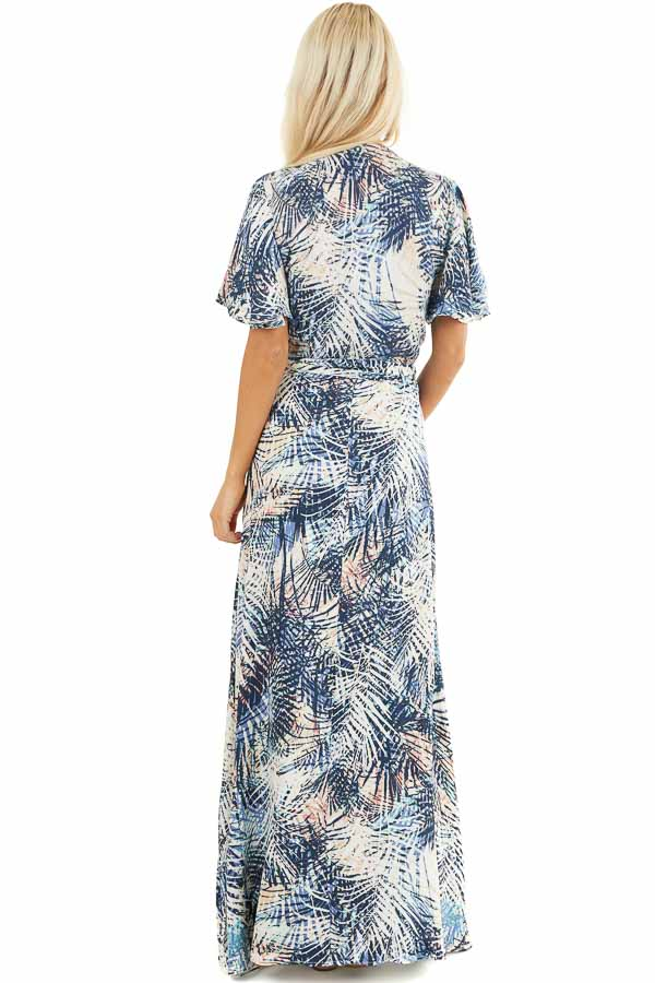 Navy Tropical Print Wrap Maxi Dress with Short Sleeves back full body