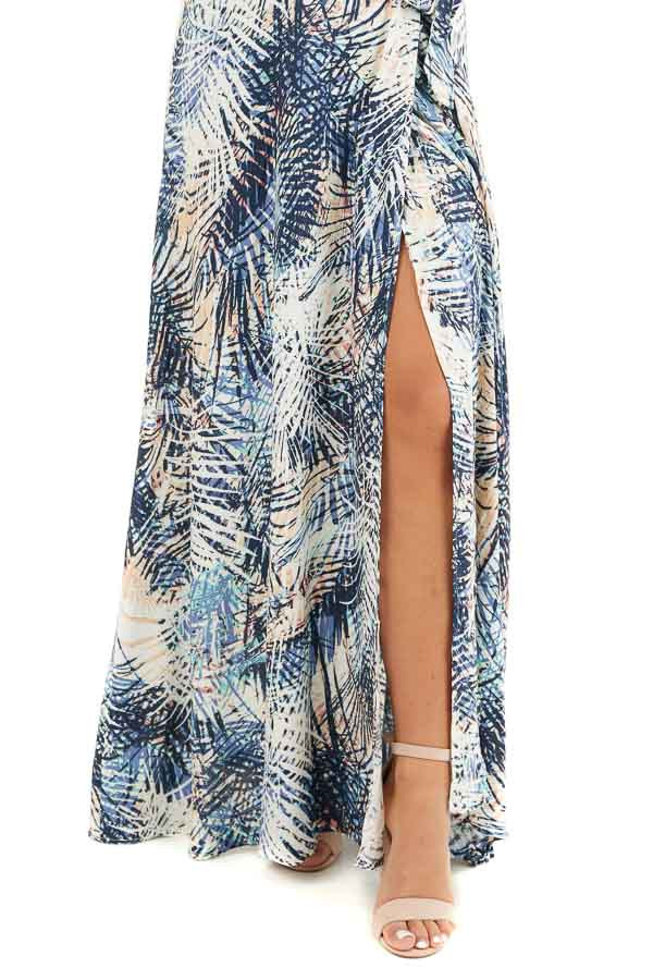 Navy Tropical Print Wrap Maxi Dress with Short Sleeves detail