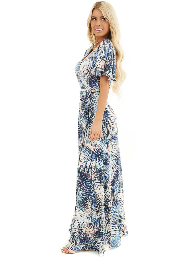 Navy Tropical Print Wrap Maxi Dress with Short Sleeves side full body