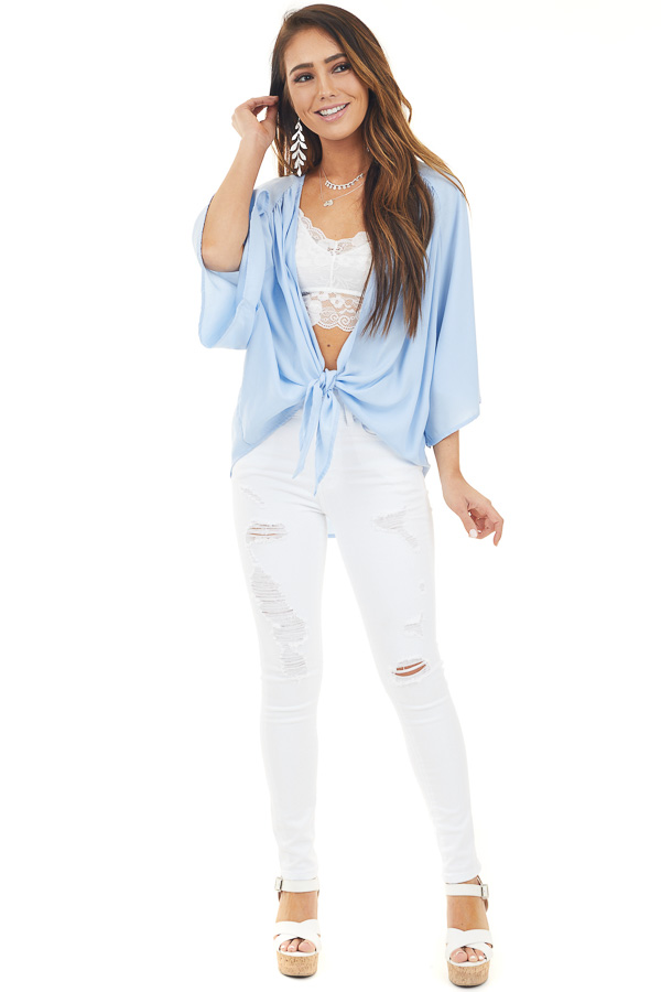 Pale Blue Kimono with Front Tie and 3/4 Length Wide Sleeves front full body