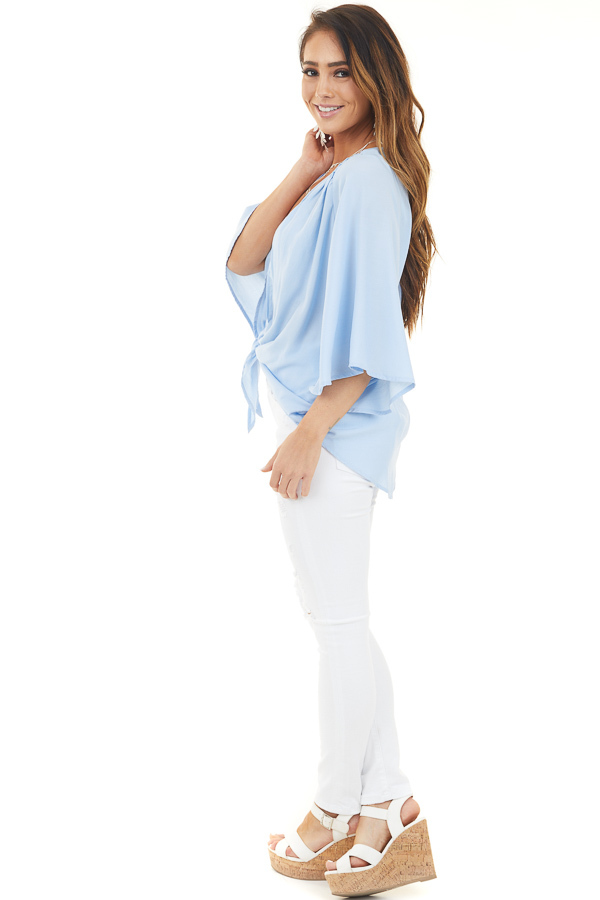 Pale Blue Kimono with Front Tie and 3/4 Length Wide Sleeves side full body