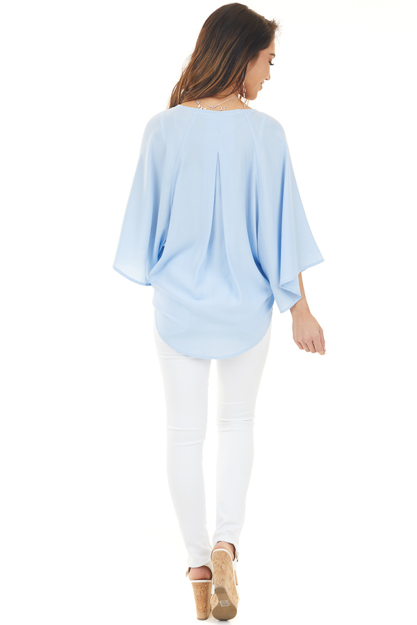 Pale Blue Kimono with Front Tie and 3/4 Length Wide Sleeves back full body