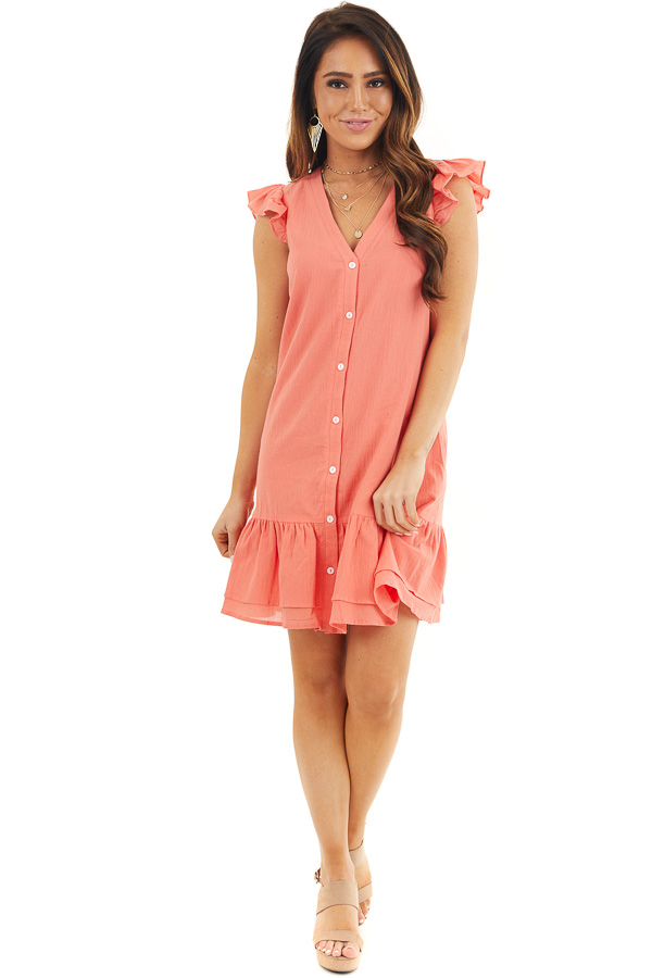Bright Coral Button Up Dress with Ruffle Sleeves and Hemline front full body
