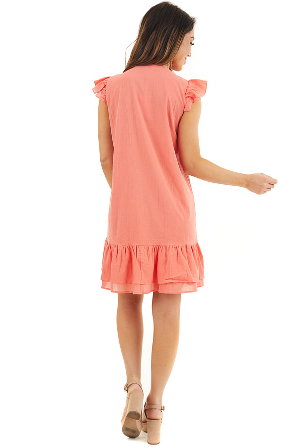 Bright Coral Button Up Dress with Ruffle Sleeves and Hemline back full body