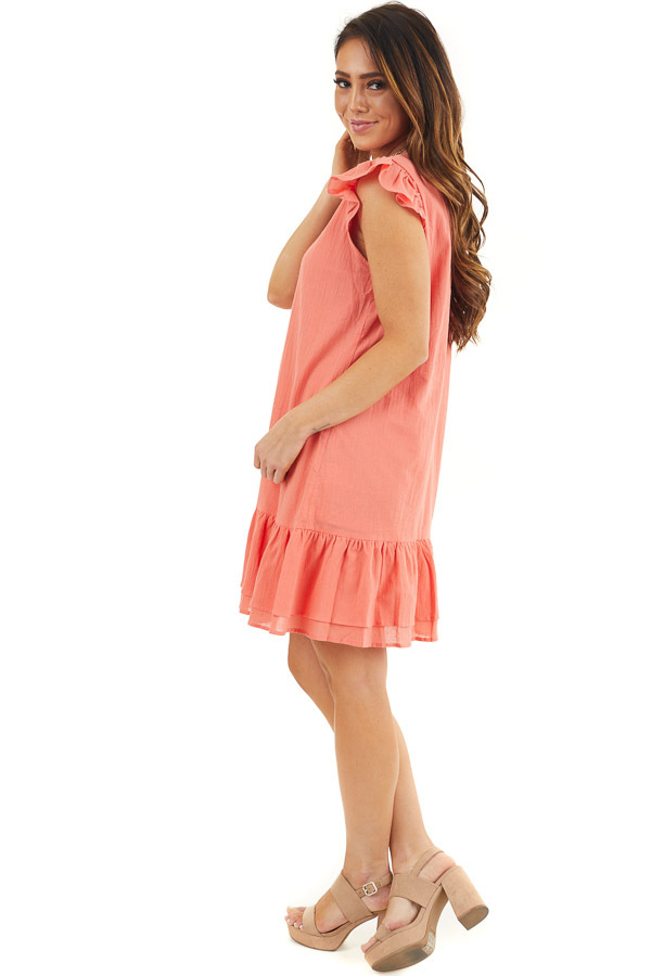 Bright Coral Button Up Dress with Ruffle Sleeves and Hemline side full body