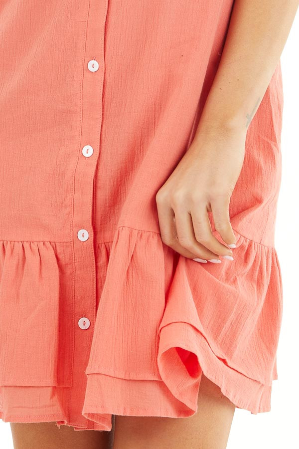 Bright Coral Button Up Dress with Ruffle Sleeves and Hemline detail