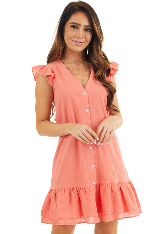 Bright Coral Button Up Dress with Ruffle Sleeves and Hemline front close up