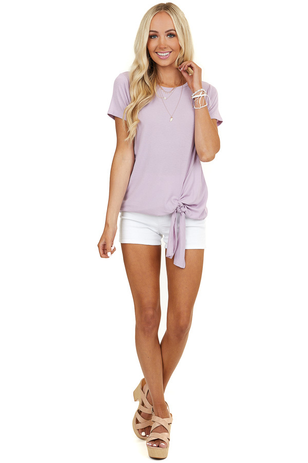 Light Mauve Ribbed Knit Top with Twisted Hemline and Tie