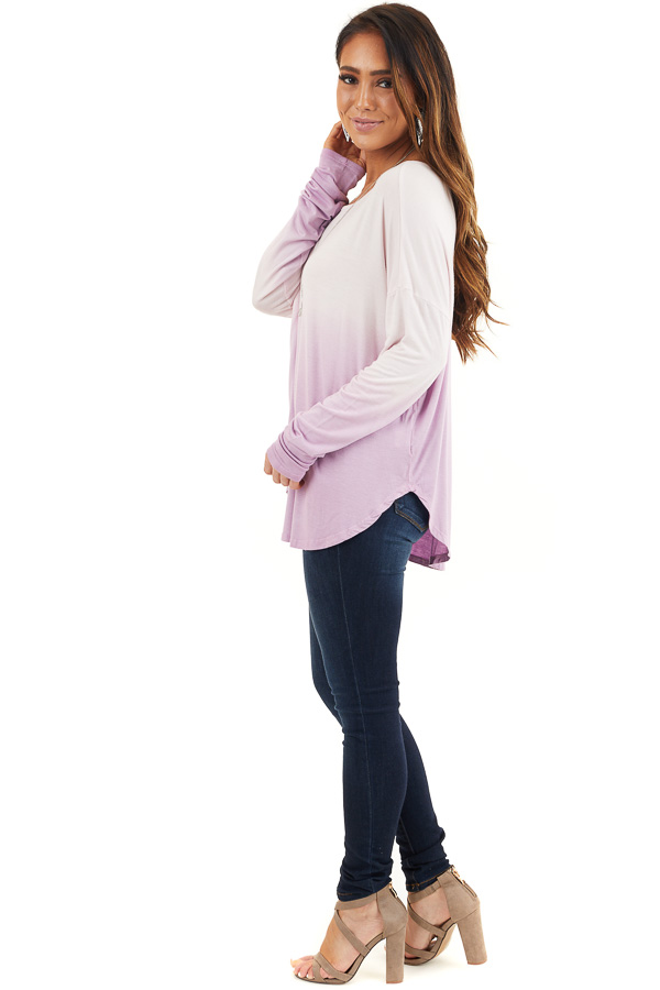 Baby Pink and Lavender Ombre Long Sleeve Tee side full body