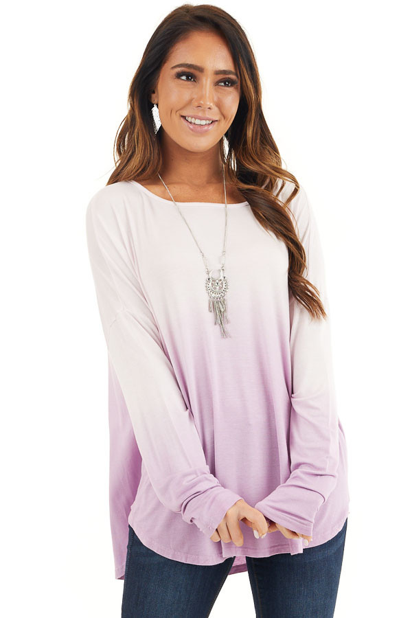 Baby Pink and Lavender Ombre Long Sleeve Tee front close up