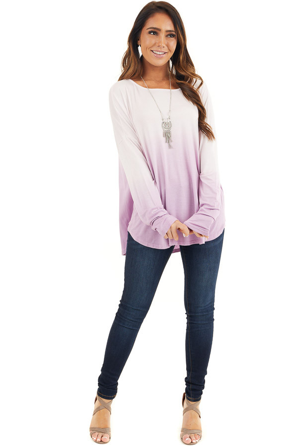 Baby Pink and Lavender Ombre Long Sleeve Tee front full body