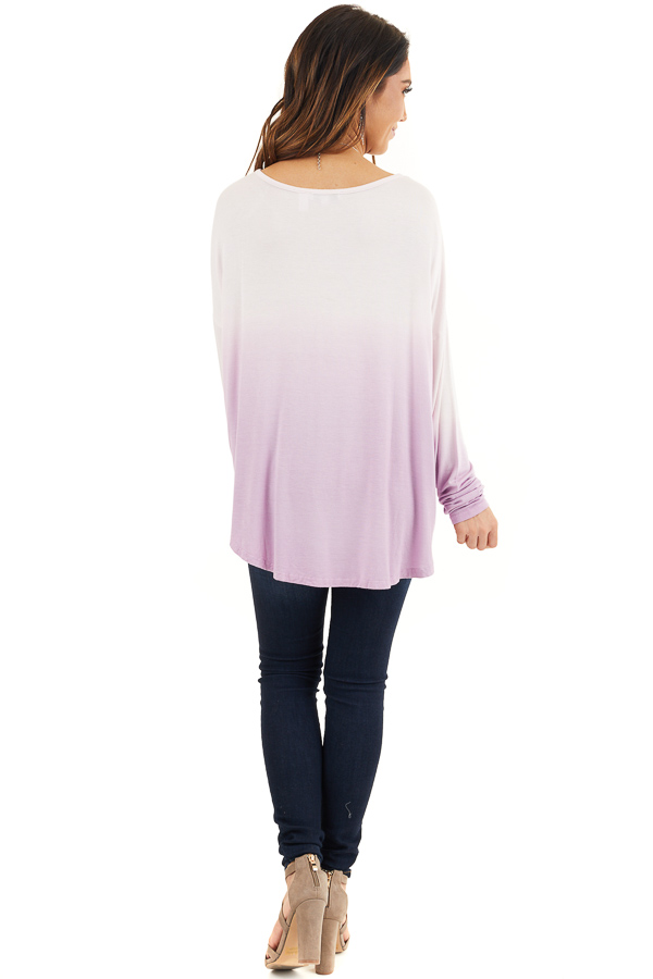 Baby Pink and Lavender Ombre Long Sleeve Tee back full body