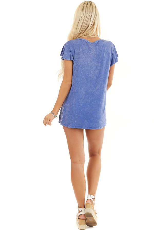 Royal Blue Washed Knit Henley Top with Short Sleeves back full body