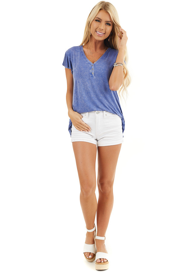 Royal Blue Washed Knit Henley Top with Short Sleeves front full body
