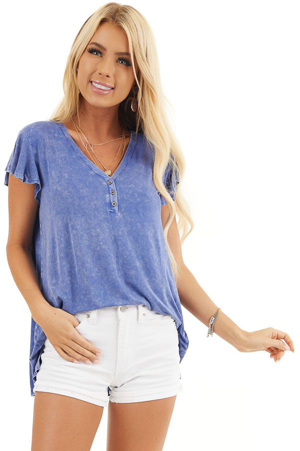 Royal Blue Washed Knit Henley Top with Short Sleeves front close up