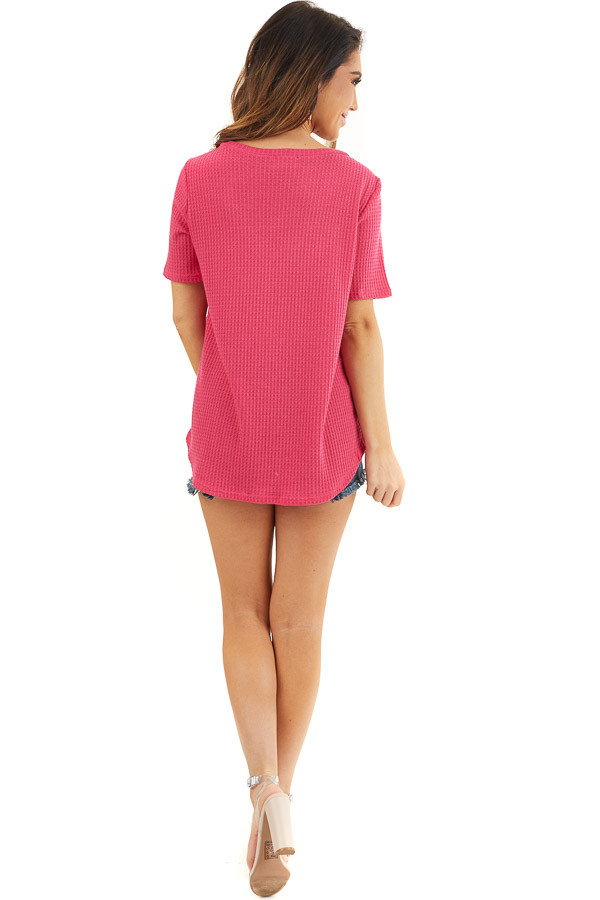 Hot Pink Waffle Knit Top with Double Strap Neck Detail back full body