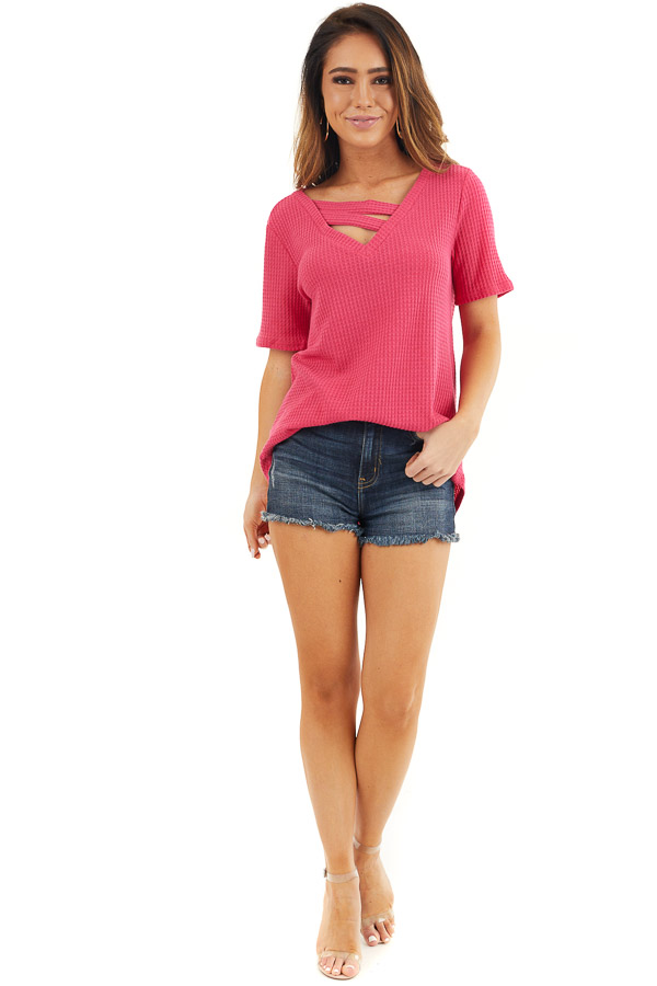 Hot Pink Waffle Knit Top with Double Strap Neck Detail front full body