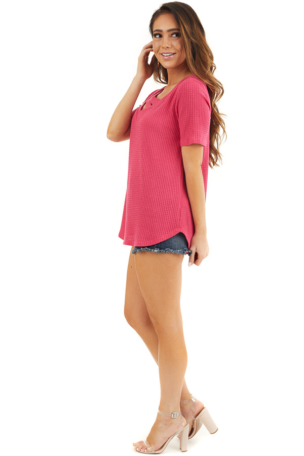 Hot Pink Waffle Knit Top with Double Strap Neck Detail side full body