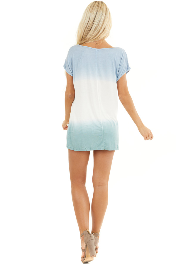 Powder Blue and Sage Tie Dye V Neck Top with Short Sleeves back full body