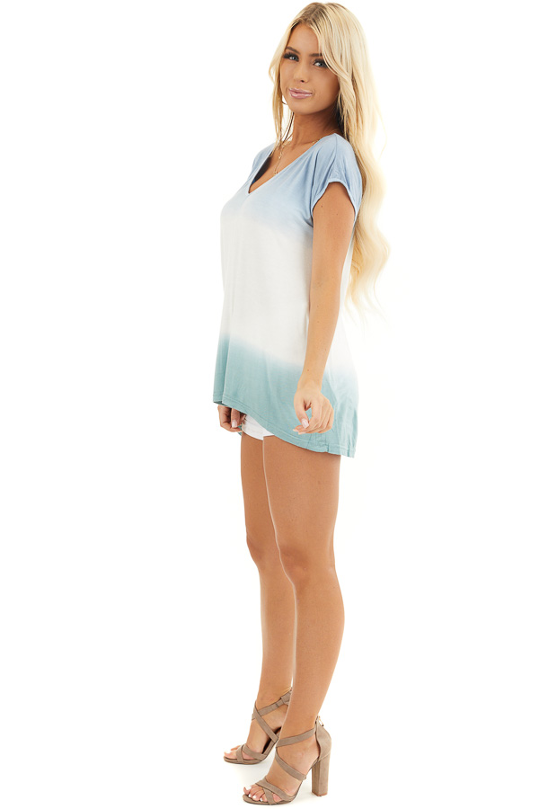 Powder Blue and Sage Tie Dye V Neck Top with Short Sleeves side full body