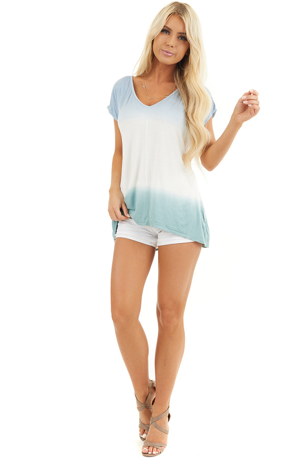 Powder Blue and Sage Tie Dye V Neck Top with Short Sleeves front full body