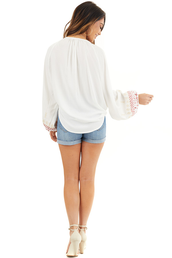 Ivory Cardigan with Front Tie and Embroidered Bubble Sleeves back full body