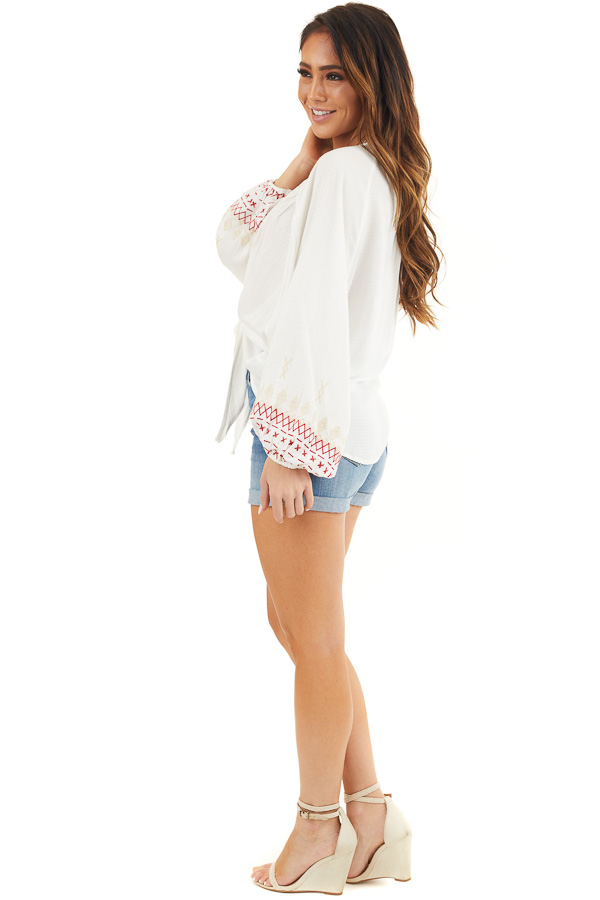 Ivory Cardigan with Front Tie and Embroidered Bubble Sleeves side full body