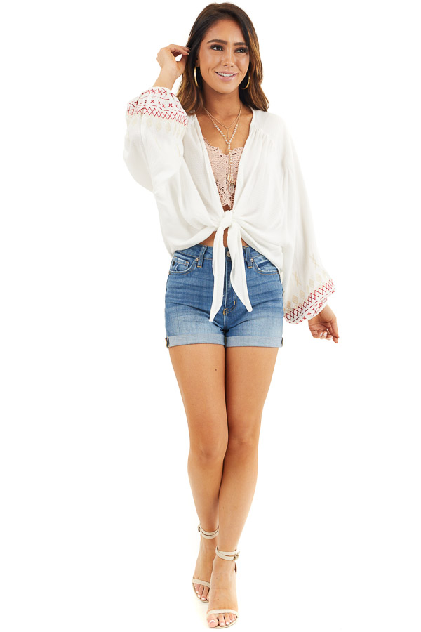 Ivory Cardigan with Front Tie and Embroidered Bubble Sleeves front full body