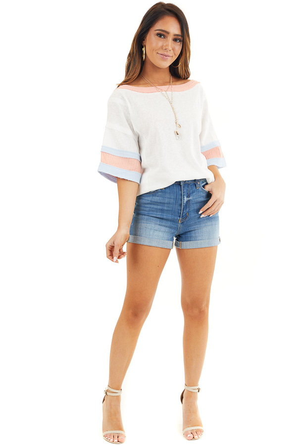 Off White and Peach Knit Top with Colorblock Short Sleeves front full body