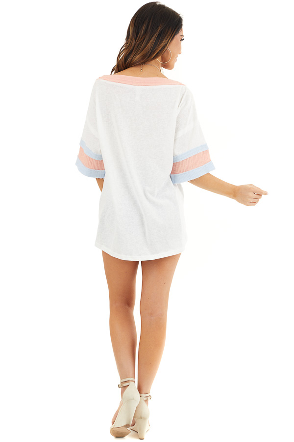 Off White and Peach Knit Top with Colorblock Short Sleeves back full body