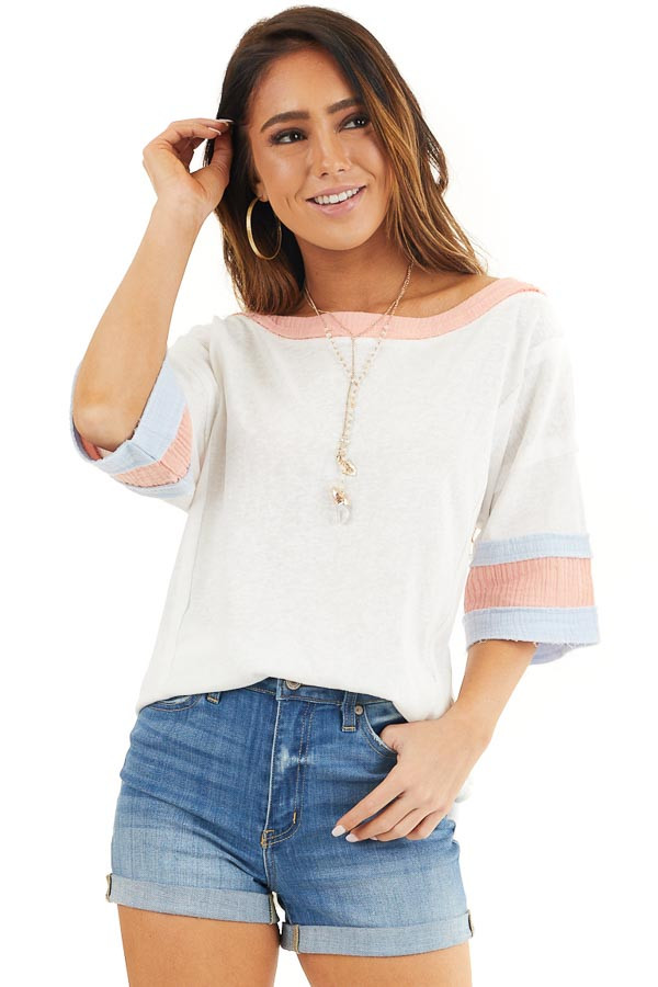 Off White and Peach Knit Top with Colorblock Short Sleeves front close up